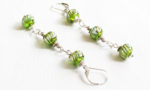 Green Striped Dangle Earrings
