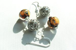 Orange Swirl Lapis Thai Silver Earrings