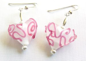 Pink Frost Heart Earrings