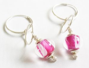 Cotton Candy Crystal Hoop Earrings