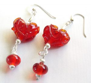 Candy Apple Red Swirl Heart Earrings