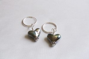 Gunmetal Heart Earrings